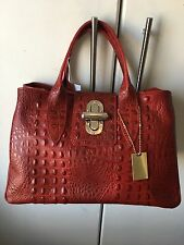 Structured Red Moc Croc Italian Leather Handbag, BNWT