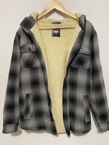 Rip Curl  sherpa lined Hoodie Check patterned Grey Mens Sz Small Button Up