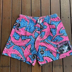 Vintage Size M Shorts Shark Attack Crazy Print Made In Australia Mens Casual