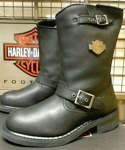 Harley-Davidson Men Size 8 1/2 M Black Leather Motorcycle Boots Engineer D93281