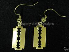 1pr Raw Brass Double Edge Razor Blade Earrings 5034