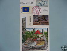 COLLINS H/P FDC 1991 WISCONSIN MILFORD DUCK - RARE