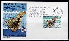 ESPAÑA SOBRE 1º DÍA 1982 2668 DIA DEL SELLO.  MAPA