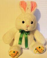 "Hallmark White BUNNY Rabbit With Easter Egg Pattern Feet 11"" Plush Stuffed Toy"