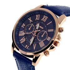 Women's Fashion Geneva Roman Faux Leather Analog Quartz Wrist Watch Armbanduhr