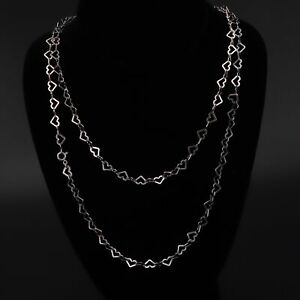 """Sterling Silver - ITALY MILOR 6mm Love Heart Chain Link 54"""" Necklace - 24g"""