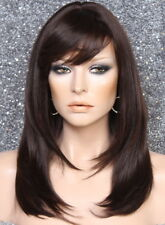 Human hair blend Full Wig Layered Straight bangs Heat OK Brown mix 4/30 PL