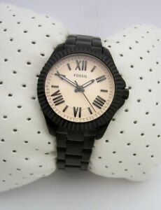 FOSSIL WOMENS  WATCH CECILE AM4614 BLACK STAINLESS STEEL BRACELET GENUINE