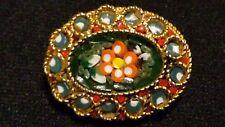 Vintage 22ct Gold Plate Italian Millefiori Glass Micro Mosaic Flower Brooch*****