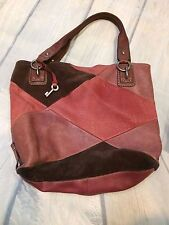 Fossil Patchwork Hobo Soft Pebbled Leather Suede Pink Mauve Brown