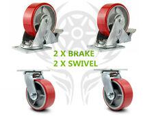 "4 Heavy Duty Caster 5"" Polyurethane on Cast Iron Wheels No Mark 2 swivel 2 brake"