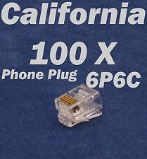 100 X RJ12 Plug 6P6C Phone Modular Telephone Cord Connector Adapter Crimp RJ11