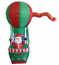 7' Christmas Air Blown Inflatable Yard Decoration Santa Claus on Hot Air Balloon