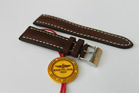 100% Genuine Authentic New Breitling Brown Calf Leather Tang Buckle Strap 24-20