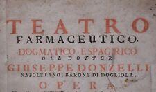 FARMACOLOGIA 1737 Donzelli, TEATRO FARMACEUTICO Erbario Chimica Incisioni FOLIO