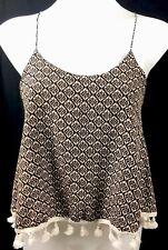 COLORES Indonesion Boho Batik Print Tassel Fringe Crop Singlet Top Size S