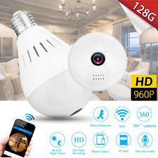 HD 360° Panoramic Wireless WiFi Hidden Light Bulb IP Security Camera Lamp Gift