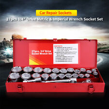 """27Pc 3/4"""" Socket Tool Kits Sets Drive Wrench Metric Large Size With Metal Case"""