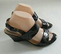 Softspots Womens Sandals Shoes Size 7.5M Black Slingback Open Toe Wedge Heel
