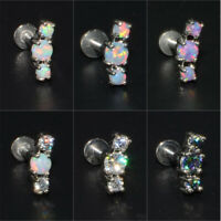 Fire Opal Zircon Ear Cartilage Tragus Helix Labret Lip Piercing Jewelry Earrings