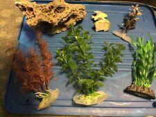 New listing Aquarium Supplies Decor Used lot 4 plants, hiding rock, 1 fish decoration
