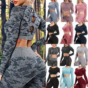 Damen Camouflage Nahtlos Sport Set Yoga Suit Lange Ärmel Top Gym Leggings Hose G
