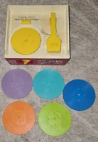 Vintage Fisher Price Music Box Record Player Wind Up 1966 1971 + All 5 Records