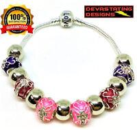 925 Sterling Silver Bracelet Kids Girls Size Pink Cross Murano Crystal Beads