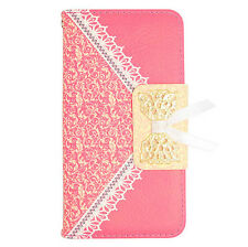 H.Pink Lace Pattern Wallet Case Cover For LG Ultimate 2 L41C Straight Talk Phone