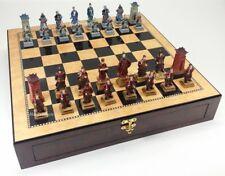 "*** NEW *** LARGE ORIENTAL THREE KINGDOMS Chess Set STORAGE CHEST BOARD 20"""