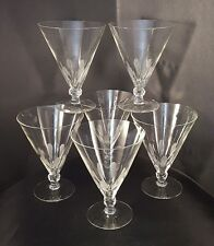 Amazing Set of 6 Antique 1930's Art Deco Etched and Cut Crystal Glasses