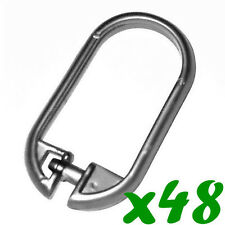 48 x SILVER Bathroom Bath Shower Curtain Rings Hooks Plastic Snap On Lock Clips