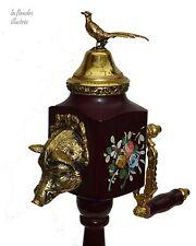 charmant moulin à poivre musicale reuge en bois et bronze - thème chasse