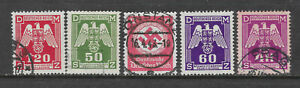 GERMANY HITLER ERA SWASTIKA 5 Different Stamps USED (No 1)