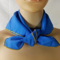 "Womens Scarf Blue 21""X21 Gold Trim Small Square Neck Wrap Fashion Casual Career"