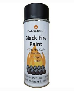 Black Fire Paint. For Gas Fire Coals, Fireplaces, Fire Pits, BBQs. 400ml