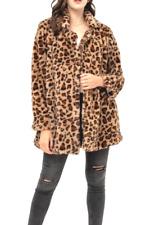 Leopard Print Long Sleeve Open Front Faux Fur Elegant Teddy  Coat((S-3XL)