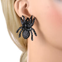 Tarantula Spider Animal Stud Earrings Black Austrian Crystal Insect Women Party