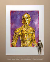 Star Wars C-3PO Vintage Kenner Action Figure ORIGINAL ART PRINT 3.75 Artwork