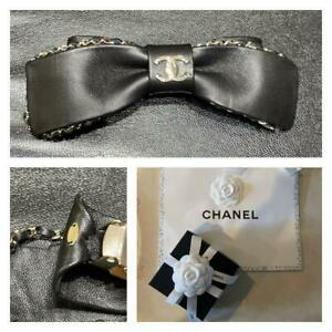 Authentic Chanel Hair Accessories Leather Valletta Ribbon CHANEL Hair Ornaments