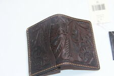 Ralph Lauren RRL Dark Engraved Leather Logo Card Holder Wallet made in Mexico
