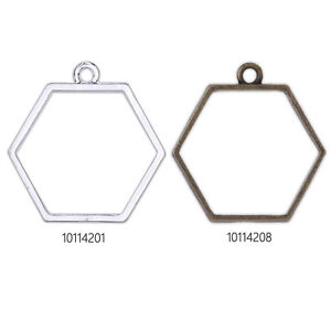 20 pcs Hexagon Open Back Bezel Pendant for Pressed Flower, Bezel Necklace
