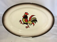 """Metlox Poppytrail *PROVINCIAL* RED ROOSTER* 13 1/2"""" X 10"""" OVAL PLATTER*"""