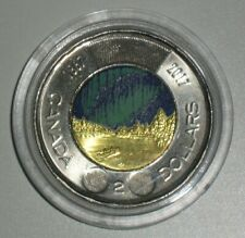 🍁 Colourized Canada 2017 Toonie $2 Dollar Glow in the dark coin in capsule 🍁