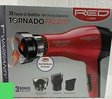 Red by Kiss Tornado Pro 2000 Style Hair Blow Dryer w/ 3 Attachments