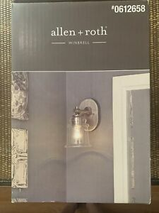 Allen + Roth Winsbrell 1-Light Nickel Traditional Vanity Light for Kitchen Bedr.