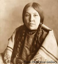 """Native American Crow Woman """"Carries the War Staff"""" - Historic Photo Print"""