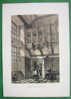 ENGLAND Hatfield Mansion Gallery in Hall !! Tinted Litho Antique Print