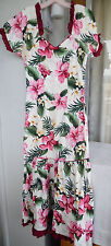 "Hawaiian MuuMuu Dress | Small XS | White Pink Green ""CC Fashions"" Hawaii MuMu"
