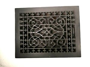 Antique Cast Iron Ornate Floor Heating Grate Register With Louvers Clean